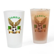 Zambia Football Design Drinking Glass