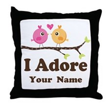 Personalized I Adore Birds Throw Pillow