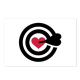 Red heart arrow target Postcards (Package of 8)