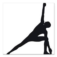 "Bikram Yoga Triangle Pose Square Car Magnet 3"" x 3"