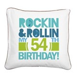 54th Birthday Rock and Roll Square Canvas Pillow
