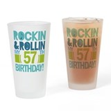 57th Birthday Rock and Roll Drinking Glass