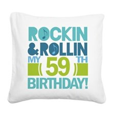 59th Birthday Rock and Roll Square Canvas Pillow