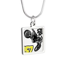 JS7bike Silver Square Necklace