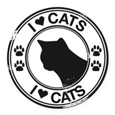 i heart cats Round Car Magnet