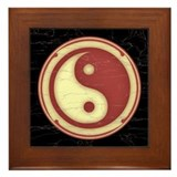 Yin-Yang -Red Framed Tile
