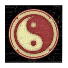Yin-Yang -Red Tile Coaster