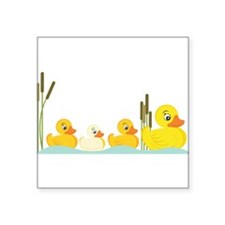 "Ducky Family Square Sticker 3"" x 3"""
