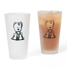 Hula Girl Westie Drinking Glass
