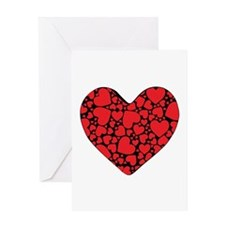 Red Hearts on Black Greeting Card