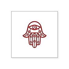 """Fire Red Hamsa Square Sticker 3"""" x 3"""""""