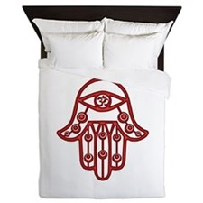 Fire Red Hamsa Queen Duvet