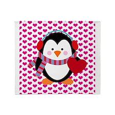 Valentines Day Penguin Throw Blanket