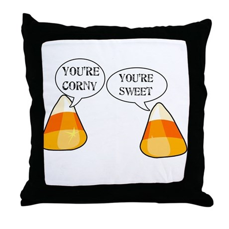 Candy Corn Halloween Throw Pillow