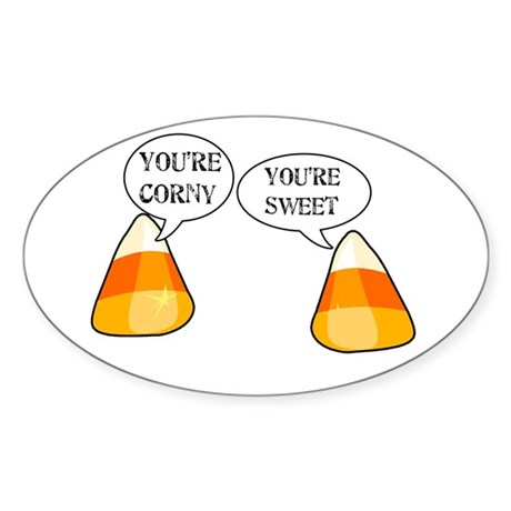 Candy Corn Halloween Oval Sticker