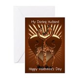 Husband Valentine's Day Card With Two Loving Giraf