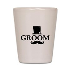 Mustache Groom Shot Glass