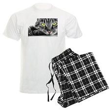 grey cat green eyes Pajamas