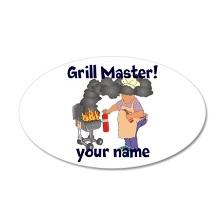 Personalized Grill Master 20x12 Oval Wall Decal