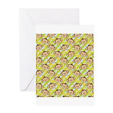 Repeating Happy Monkeys Greeting Card