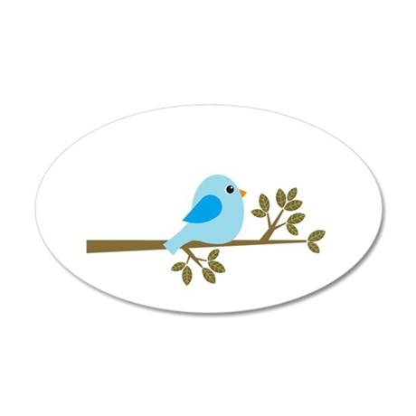 Blue Bird on a Branch 35x21 Oval Wall Decal