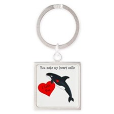 Personalized Whale Square Keychain