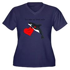 Personalized Whale Women's Plus Size V-Neck Dark T