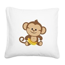 Cute Cartoon Monkey Square Canvas Pillow