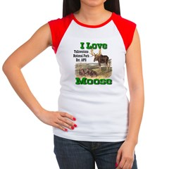 I Love Moose YNP Women's Cap Sleeve T-Shirt
