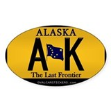Alaska License Plate Sticker - AK (Rectangular) St