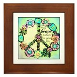 May Peace Bloom Framed Tile