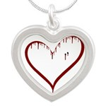 Vampire Love Silver Heart Necklace