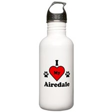 I Heart My Airedale Water Bottle