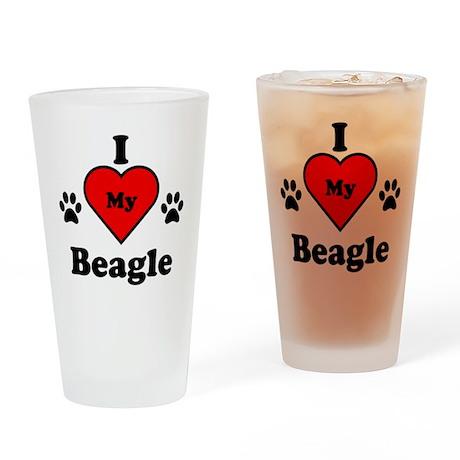 I Heart My Beagle Drinking Glass