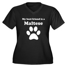 Maltese Best Friend Women's Plus Size V-Neck Dark