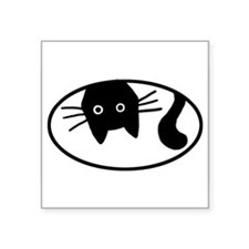 Upside-Down Cat Oval Sticker