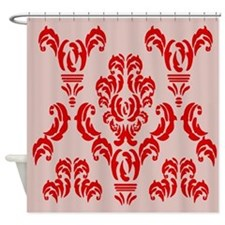Damask Detail Red Shower Curtain