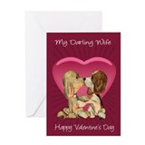 Wife Valentine's Day Card With Two Kissing Puppies
