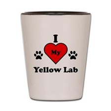 I Heart My Yellow Lab Shot Glass