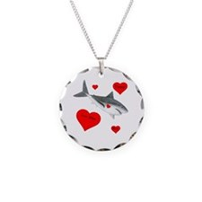 Personalized Shark Valentine Necklace Circle Charm
