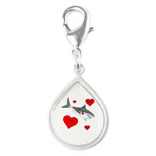 Personalized Shark Valentine Silver Teardrop Charm