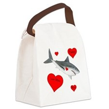 Personalized Shark Valentine Canvas Lunch Bag