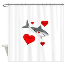 Personalized Shark Valentine Shower Curtain
