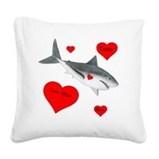 Personalized Shark Valentine Square Canvas Pillow