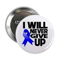 "Never Give Up Colon Cancer 2.25"" Button (10 pack)"