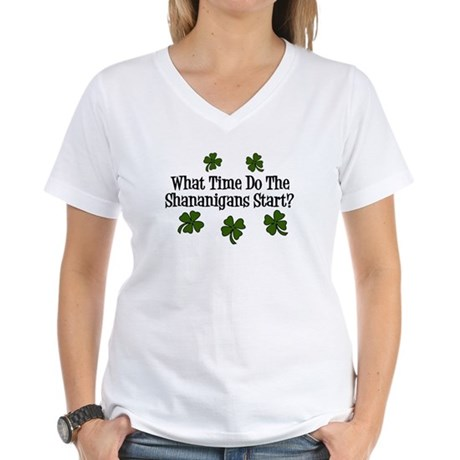 What Time Do the Shenanigans Start? Women's V-Neck