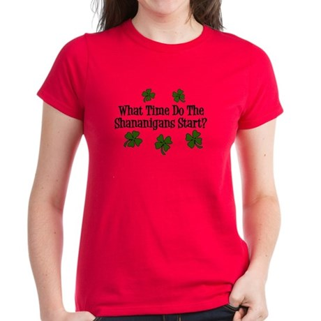 What Time Do the Shenanigans Start? Women's Dark T