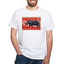 Vintage 1959 Belgian Congo Rhinoceros Stamp Shirt