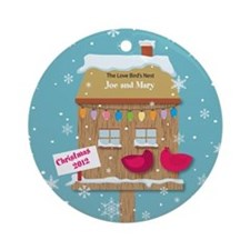 Personalized Love Birds House Christmas Ornament