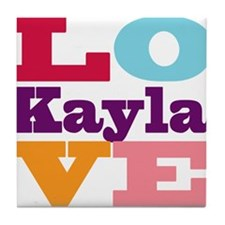 I Love Kayla Tile Coaster